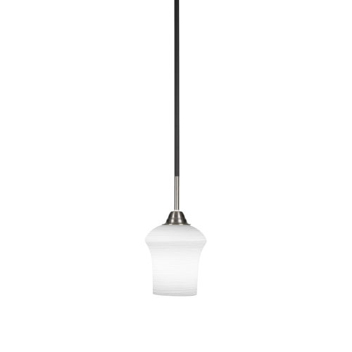 Paramount Matte Black and Brushed Nickel One-Light Mini Pendant with Zilo White Linen Glass Shade