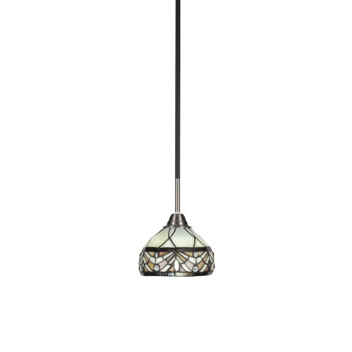 Paramount Matte Black and Brushed Nickel One-Light Mini Pendant with Royal Merlot Art Glass Shade