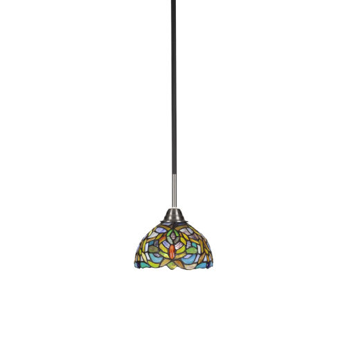 Paramount Matte Black and Brushed Nickel One-Light Mini Pendant with Kaleidoscope Art Glass Shade