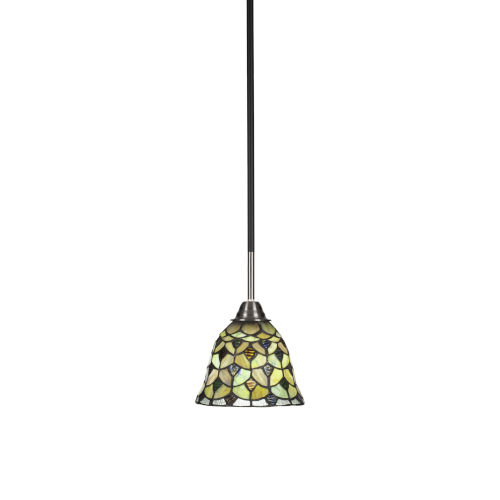 Paramount Matte Black and Brushed Nickel One-Light Mini Pendant with Cresent Art Glass Shade