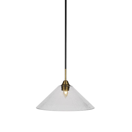 Paramount Matte Black and Brass 16-Inch One-Light Pendant with Clear Bubble Shade