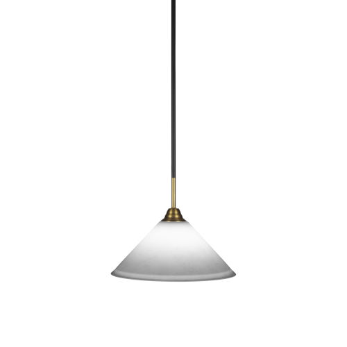 Paramount Matte Black and Brass 12-Inch One-Light Pendant with White Muslin Shade