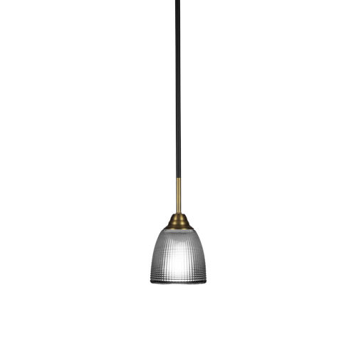 Paramount Matte Black and Brass Five-Inch One-Light Mini Pendant with Clear Ribbed Shade