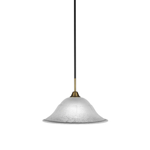 Paramount Matte Black and Brass 16-Inch One-Light Pendant with White Marble Shade