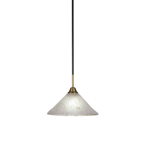 Paramount Matte Black and Brass 12-Inch One-Light Pendant with Frosted Crystal Shade
