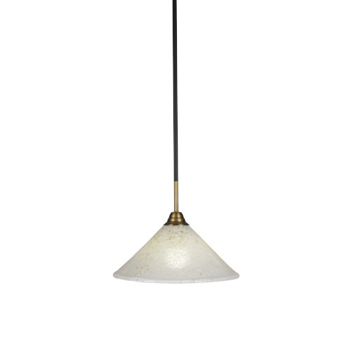 Paramount Matte Black and Brass 12-Inch One-Light Pendant with Gold Ice Shade