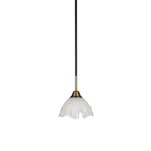 Paramount Matte Black and Brass Seven-Inch One-Light Mini Pendant with Gold Ice Shade