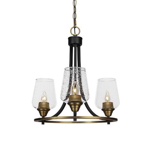 Paramount Matte Black and Brass 16-Inch Three-Light Chandelier
