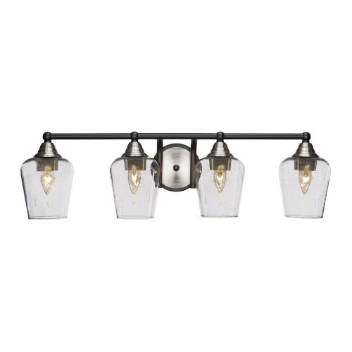 Paramount Matte Black and Brushed Nickel 30-Inch Four-Light Bath Vanity