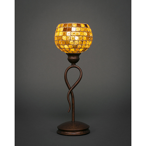 Toltec Lighting Leaf Bronze Six-Inch One-Light Table Lamp with Copper Mosaic Glass