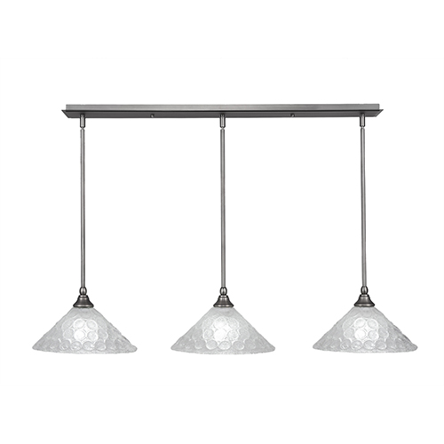 Any Brushed Nickel 12-Inch Three-Light Pendant with Italian Bubble Glass