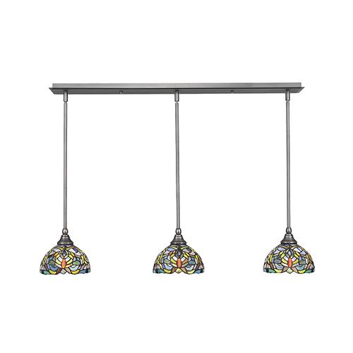 Any Brushed Nickel 38-Inch Three-Light Pendant with Kaleidoscope Mini Tiffany Glass