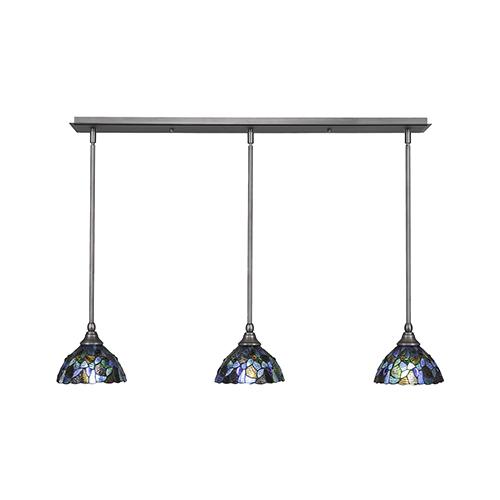 Any Brushed Nickel 38-Inch Three-Light Pendant with Blue Mosaic Mini Tiffany Glass