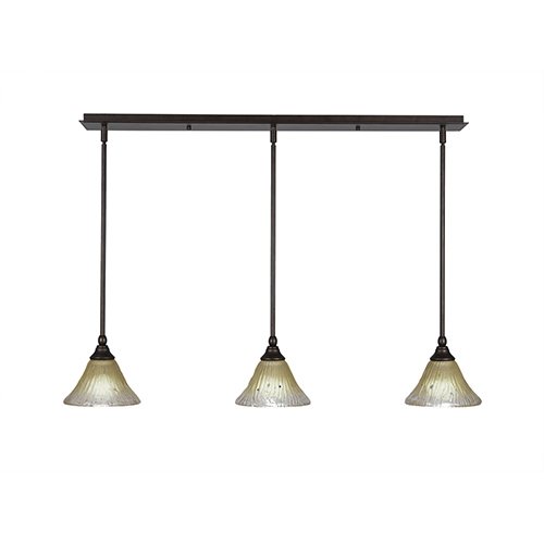 Any Bronze 39-Inch Three-Light Pendant with Amber Crystal Glass