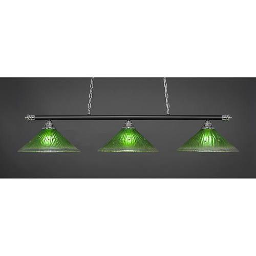 Oxford Chrome and Matte Black 16-Inch Three-Light Island Pendant with Kiwi Green Crystal Glass