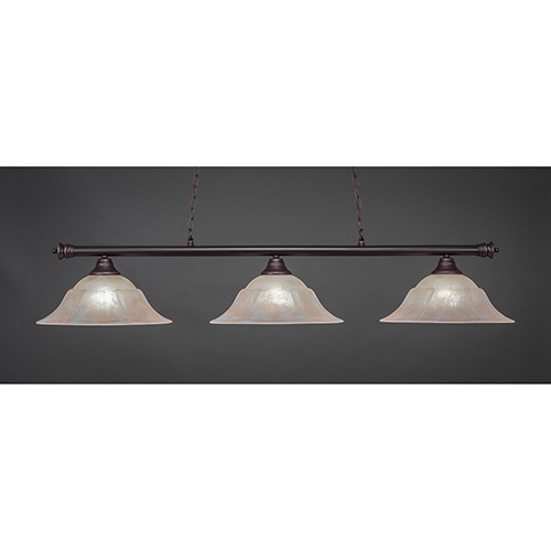 Oxford Dark Granite 16-Inch Three-Light Island Pendant with Amber Marble Glass
