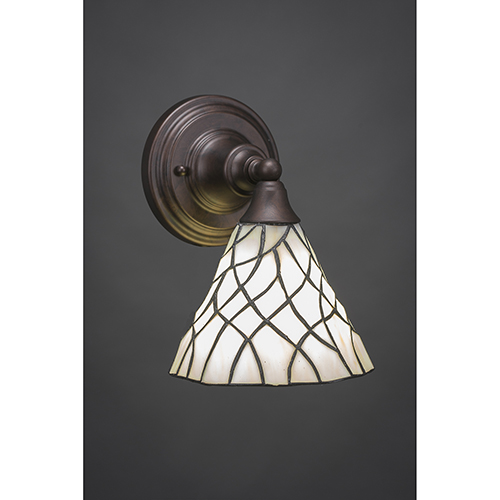 Any Bronze Seven-Inch One-Light Wall Sconce with Sandhill Tiffany Glass