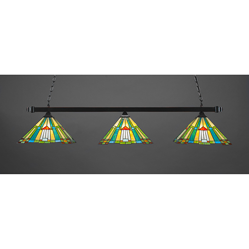 Square Bar/Square Fitters Black Copper 14-Inch Three-Light Island Pendant with Tango Tiffany Glass