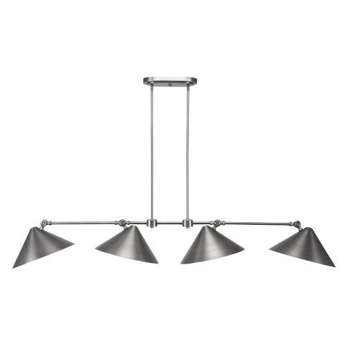 Tangent Brushed Nickel 62-Inch Four-Light LED Island Chandelier
