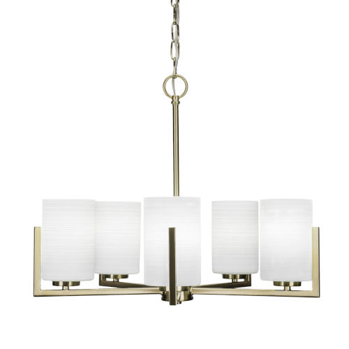 Atlas New Age Brass 20-Inch Five-Light Chandelier with White Matrix Glass