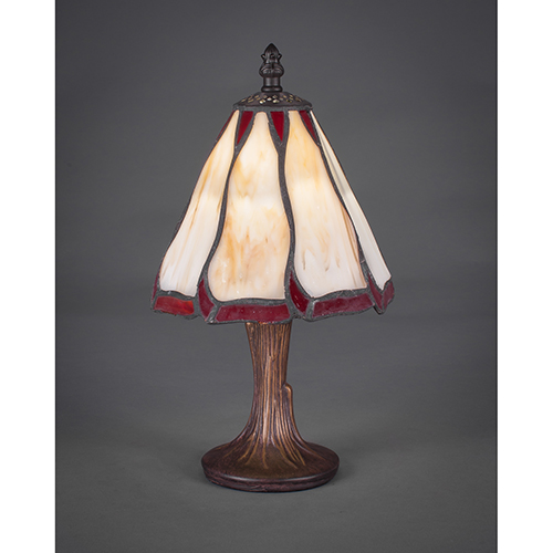 Any Dark Granite Six-Inch One-Light Table Lamp with Honey and Burgundy Flair Tiffany Glass