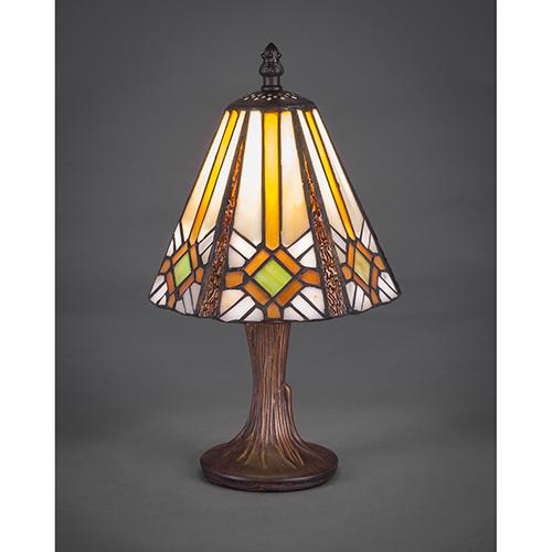 Any Dark Granite Seven-Inch One-Light Table Lamp with Hampton Tiffany Glass