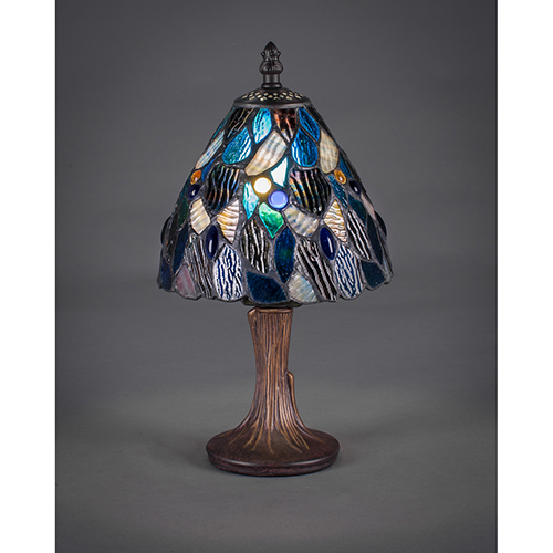 Toltec Lighting Any Dark Granite Six-Inch One-Light Table Lamp with Blue Mosaic Tiffany Glass