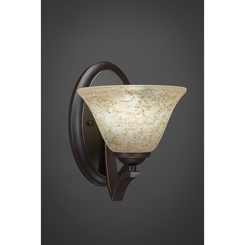 Zilo Dark Granite Seven-Inch One-Light Wall Sconce with Italian Marble Glass