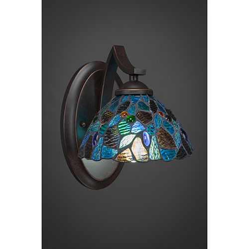 Zilo Dark Granite Seven-Inch One-Light Wall Sconce with Blue Mosaic Tiffany Glass