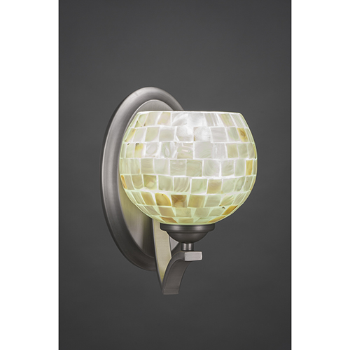 Zilo Graphite Six-Inch One-Light Wall Sconce with Mystic Seashell
