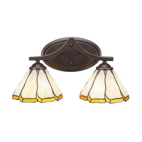 Zilo Dark Granite Two-Light Bath Vanity with Honey and Brown Flair Tiffany Glass