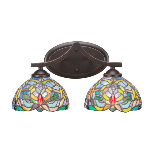 Zilo Dark Granite Two-Light Bath Vanity with Kaleidoscope Tiffany Glass
