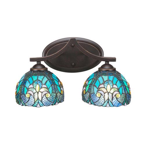 Toltec Lighting Zilo Dark Granite Two-Light Bath Vanity with Turquoise Cypress Tiffany Glass