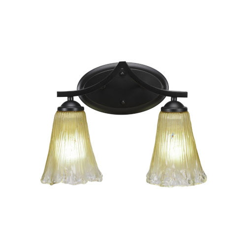 Zilo Matte Black Two-Light Bath Vanity with Fluted Amber Crystal Glass