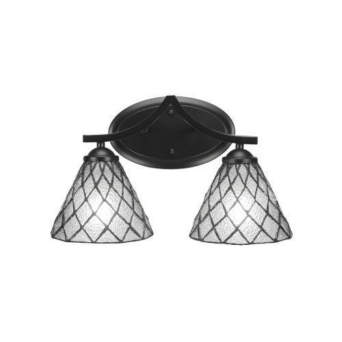 Zilo Matte Black Two-Light Bath Vanity with Diamond Ice Tiffany Glass
