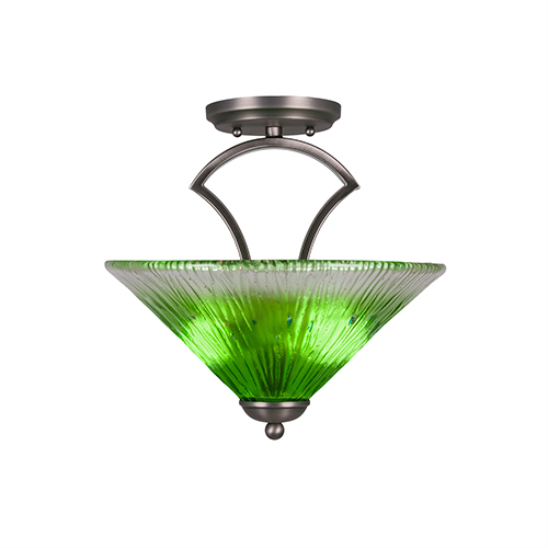 Zilo Graphite 12-Inch Two-Light Semi Flush Mount with Kiwi Green Crystal Glass