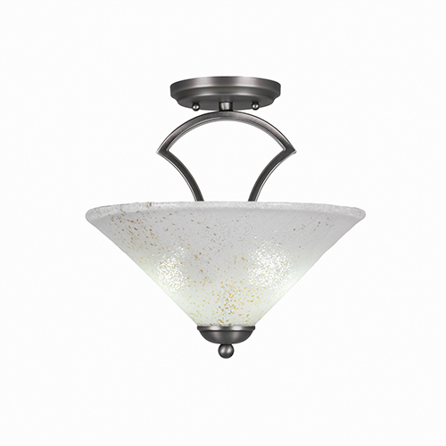 Zilo Graphite 12-Inch Two-Light Semi Flush Mount with Gold Ice Glass