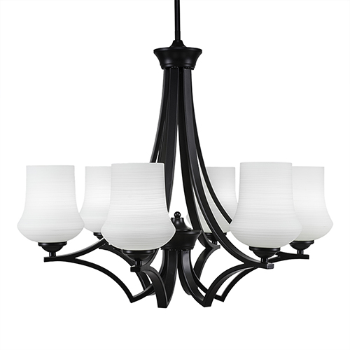 Zilo Matte Black 26-Inch Six-Light Chandelier with Zilo White Linen Glass