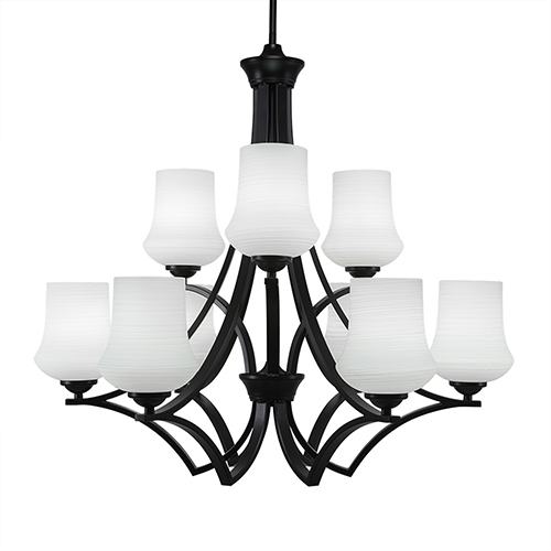 Zilo Matte Black 29-Inch Nine-Light Chandelier with Zilo White Linen Glass