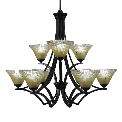 Zilo Matte Black 31-Inch Nine-Light Chandelier with Amber Crystal Glass