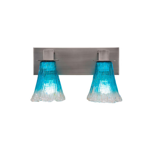 Toltec Lighting Apollo Graphite Two-Light Bath Vanity with Teal Crystal Glass