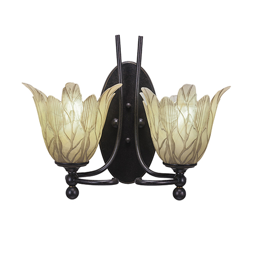 Capri Dark Granite 14-Inch Two-Light Wall Sconce with Vanilla Leaf Glass
