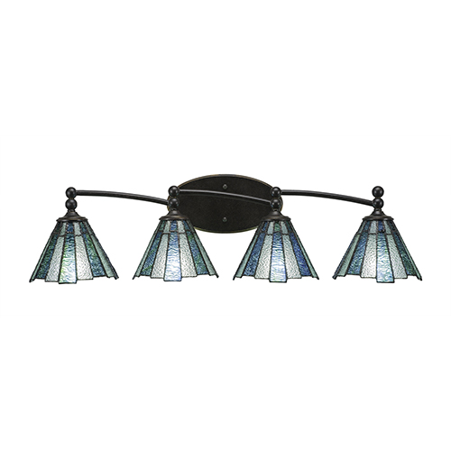 Toltec Lighting Capri Dark Granite 31-Inch Four-Light Bath Vanity with Sea Ice Tiffany