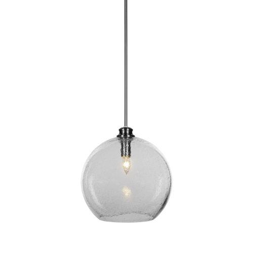 Kimbro Brushed Nickel One-Light Pendant with Smoke Bubble Glass Shade