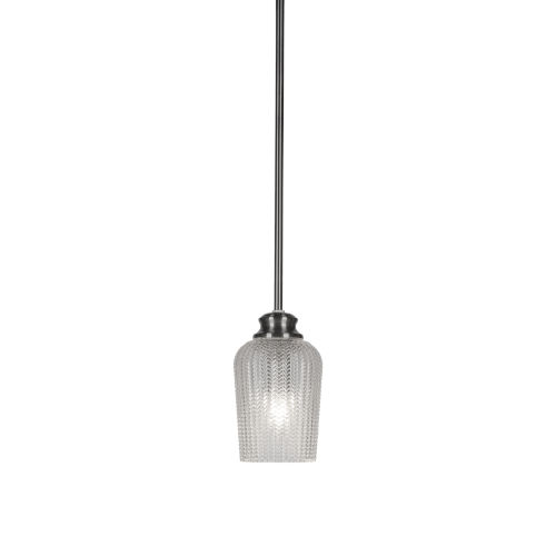 Cordova Brushed Nickel One-Light Mini Pendant with Clear Textured Glass Shade