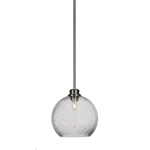 Kimbro Brushed Nickel One-Light 10-Inch Stem Hung Mini Pendant with Smoke Bubble Glass