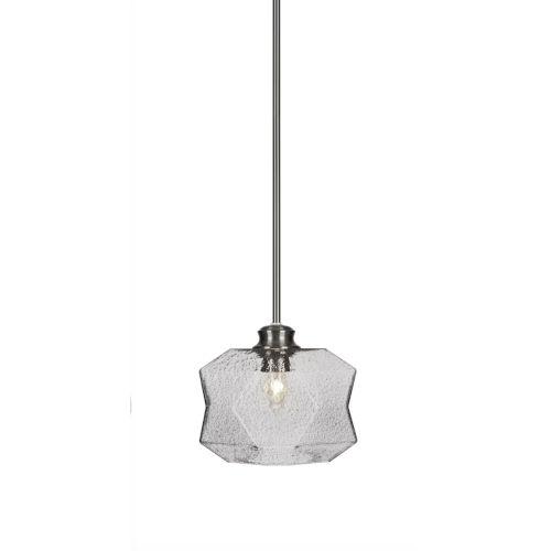Rocklin Brushed Nickel One-Light 8-Inch Stem Hung Mini Pendant with Smoke Glass