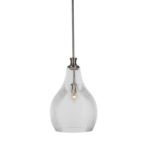 Carina Brushed Nickel 12-Inch One-Light Pendant with Clear Ribbed Glass Shade