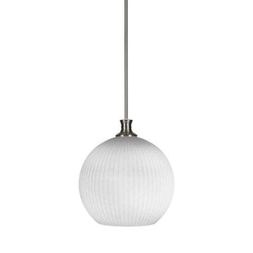 Carina Brushed Nickel One-Light 14-Inch Stem Hung Pendant with Opal Frosted Glass