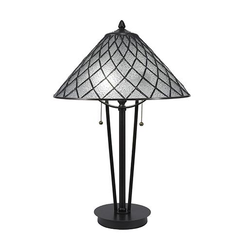 Any Dark Granite 16-Inch Two-Light Table Lamp with Diamond Ice Tiffany